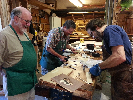 2014 Marquetry Class 31  FINAL DAY STUDENTS WORKING ON PROJECTS EMAIL SIZE