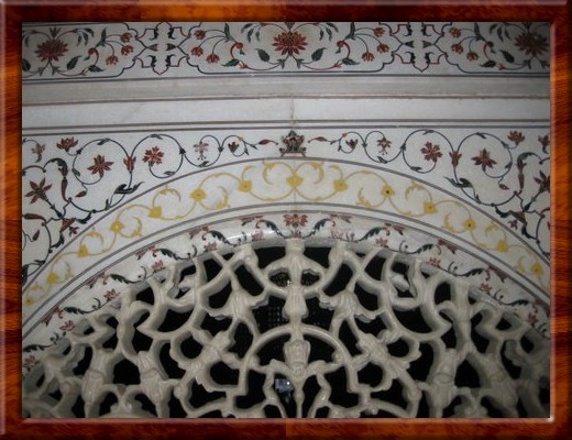 008 Some of the fretwork cut into solid white marble and carved, along with more stone inlay