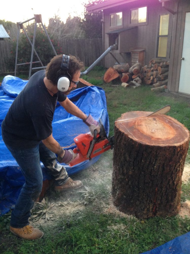 DAVID WITH CHAINSAW WOOD