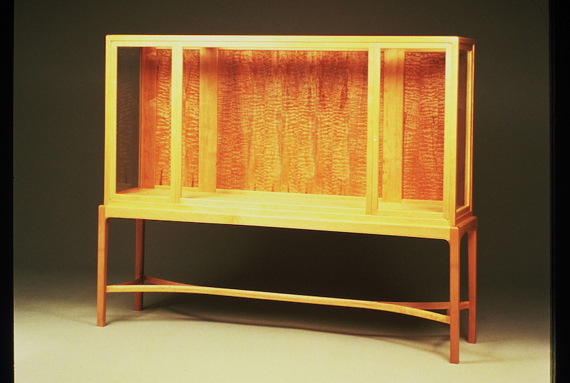 Quilted maple display case