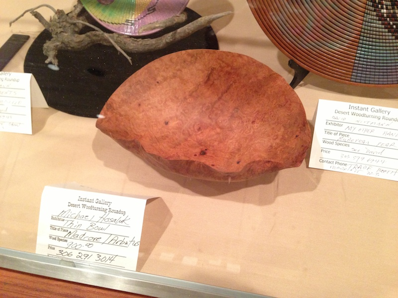 Thin turned madrone burl bowl by Michael Hosaluk