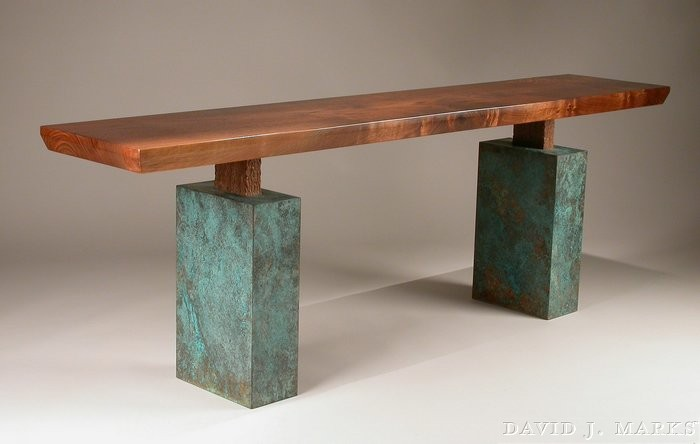 Episode 303 Contemporary Walnut Bench with Copper & Patina Bases.