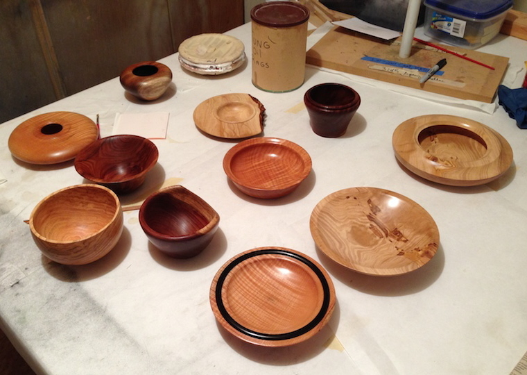 CLOSE UP VARIETY OF BOWLS CREATED BY STUDENTS 2014 TURNING CLASS